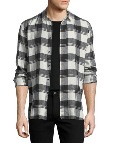 BLK WHT PLAID FLANNEL LSW