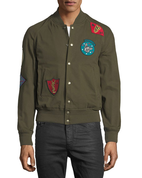 Teddy Multi-Patch Twill Bomber Jacket