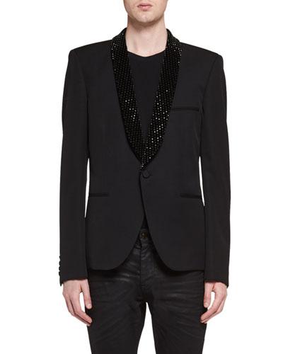 Le Smoking Jacket with Embellished Lapel, Black