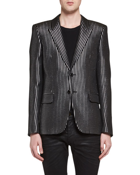Metallic-Stripe Evening Jacket, Black/Gray