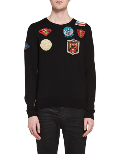 Wool Crewneck Sweater with Patches, Black