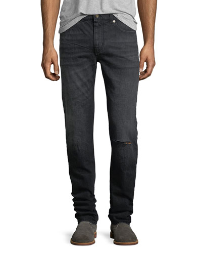 Dirty-Wash Skinny Jeans with Ripped Knee