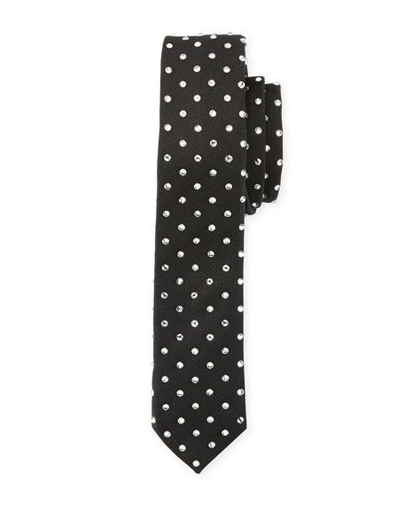 Rhinestone-Embellished Silk Tie