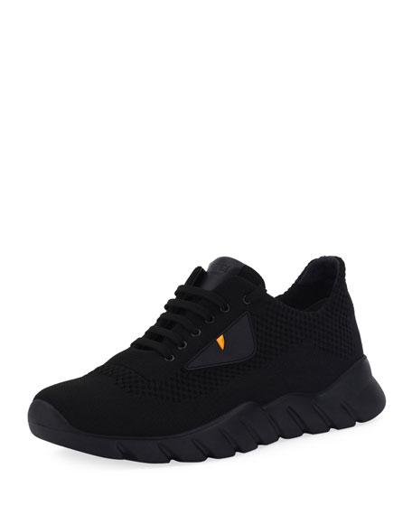 Fendi Bag Bugs Knit Running Sneaker, Black
