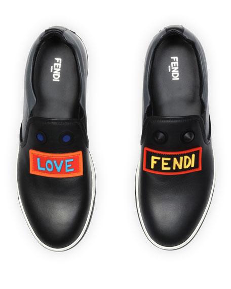 Vocabulary Face Leather Slip-On Skate Sneaker, Black
