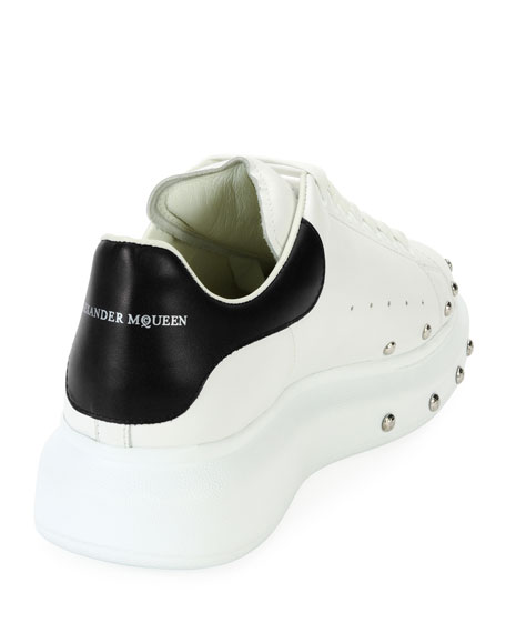 Studded Leather Low-Top Sneaker, White/Black