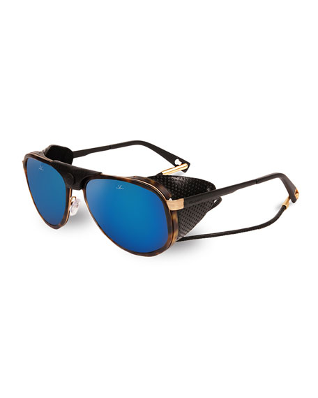 Glacier 1957 Pilot Sport Sunglasses, Black/Tortoiseshell/Blue