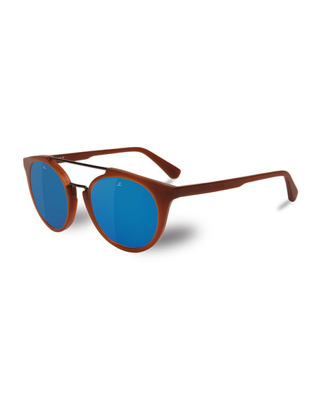 Cable Car Round Polarized Sunglasses, Light Brown