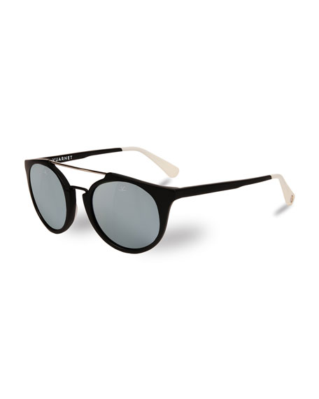 Cable Car Round Sunglasses, Black/White