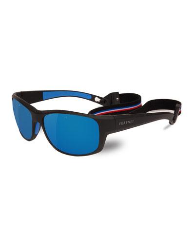 Cup Large Rectangular Active Polarized Sunglasses, Black/Gray-Blue