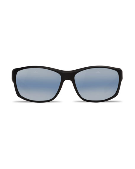 Cup Large Rectangular Active Polarized Sunglasses, Black/Blue