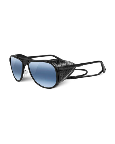 Glacier Pilot Sport Polarized Sunglasses, Black/Blue