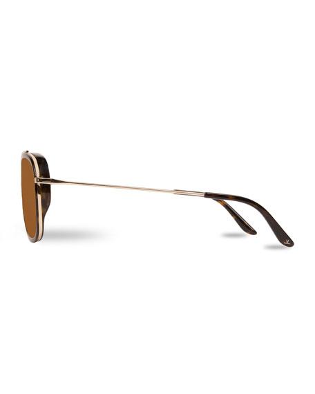Edge Rectangular Aviator Polarized Sunglasses, Tortoiseshell/Gold