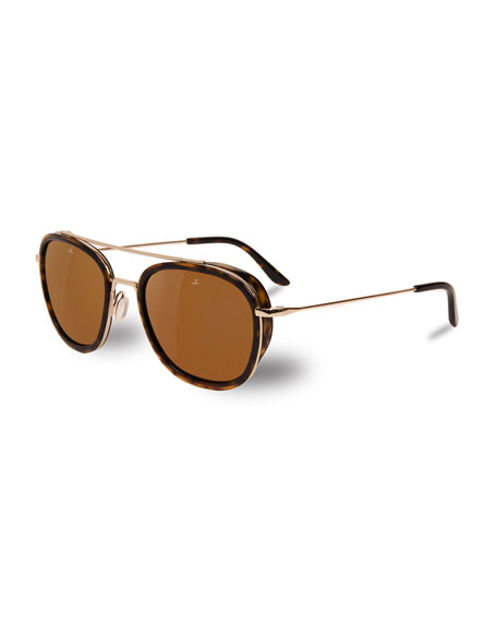Vuarnet Edge Rectangular Aviator Polarized Sunglasses,