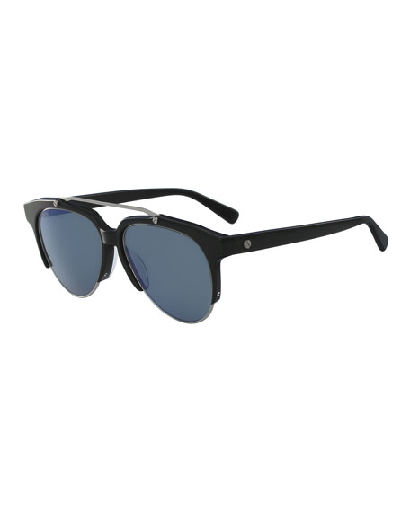 MCM Acetate & Metal Aviator Sunglasses, Black