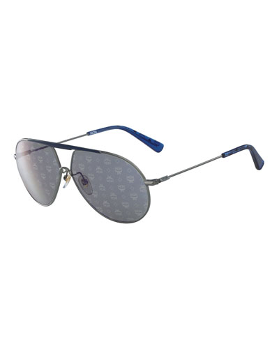Visetos Aviator Sunglasses with Bar, Light Gray