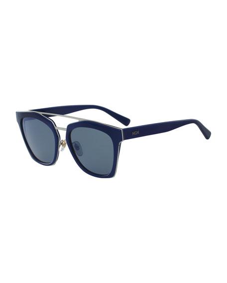 Square Schoolboy Double-Bridge Sunglasses
