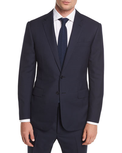 Two-Button Wool Plaid Suit