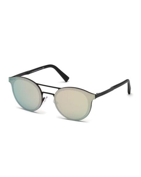 Ermenegildo Zegna Round Double-Bridge Flash Sunglasses, Matte