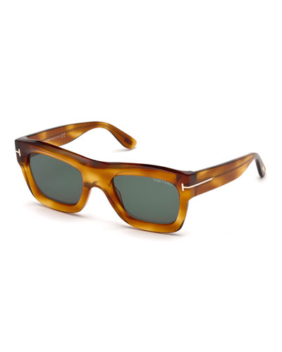 Wagner Thick Square Sunglasses, Blonde Havana