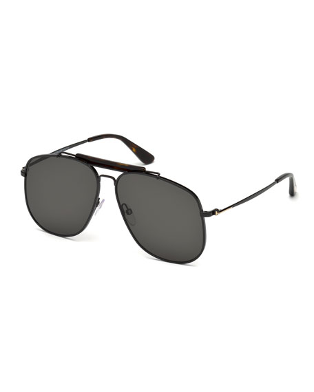 TOM FORD Connor Runway Aviator Sunglasses, Black/Smoke