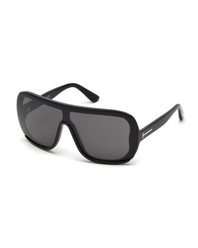 Porfirio Acetate Shield Sunglasses, Black/Smoke