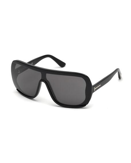 Porfirio Acetate Shield Sunglasses, Black/Smoke