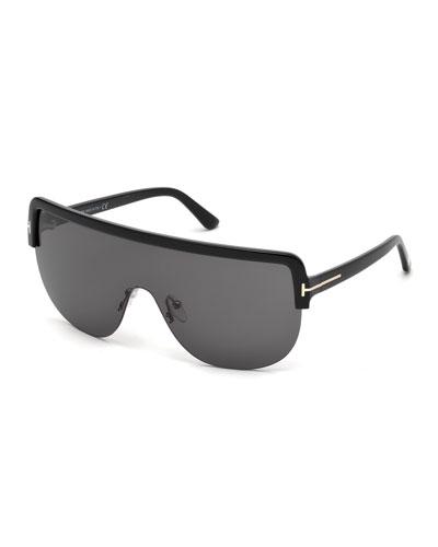 Angus Half-Rim Shield Sunglasses, Shiny Black/Smoke