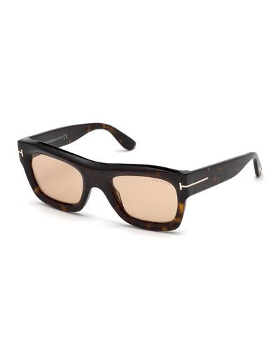 Wagner Thick Square Sunglasses, Dark Brown Havana