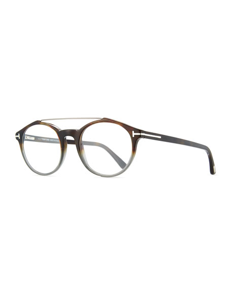 TOM FORD Round Acetate Optical Frames with Brow Bar