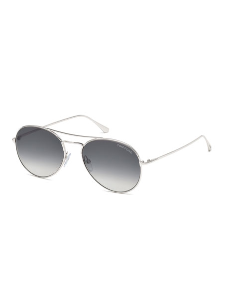 Ace Metal Pilot Sunglasses, Shiny Rhodium/Gradient Smoke