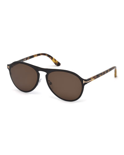 Bradbury Metal Aviator Sunglasses, Shiny Black/Tortoise/Brown