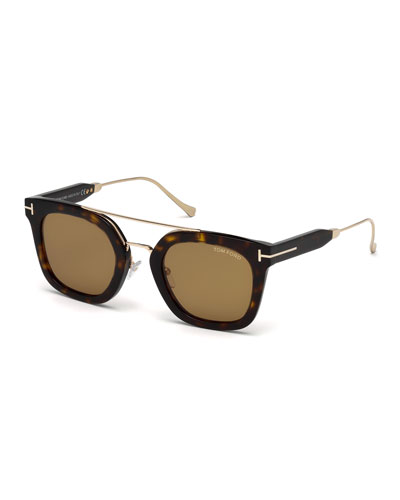 Alex Acetate & Metal Square Sunglasses, Dark Havana/Shiny Rose Gold/Vintage Brown
