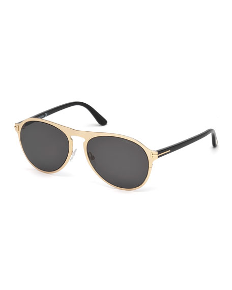 Bradbury Metal Aviator Sunglasses, Shiny Rose Gold/Shiny Black/Smoke