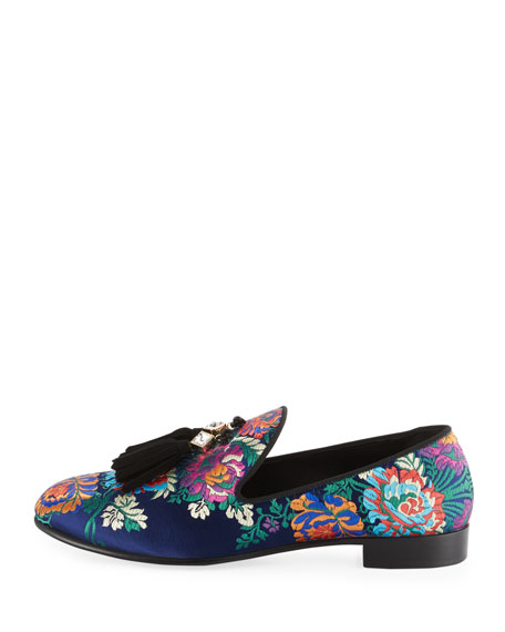 Floral Embroidered Tassel Loafer