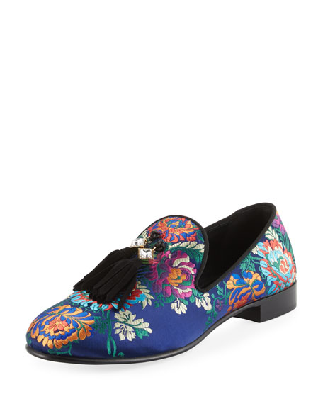 Giuseppe Zanotti Floral Embroidered Tassel Loafer