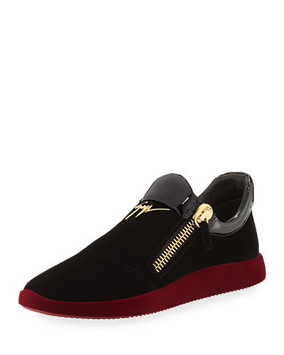 Men's Velvet & Patent Leather Trainer Sneaker