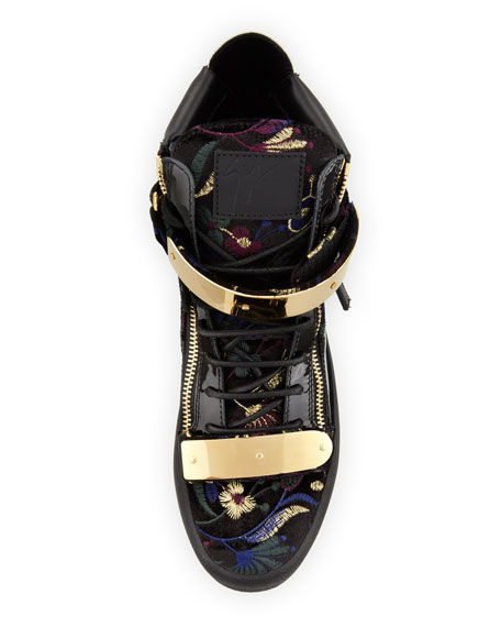 Men's Floral Brocade Velvet Double-Bar High-Top Sneaker