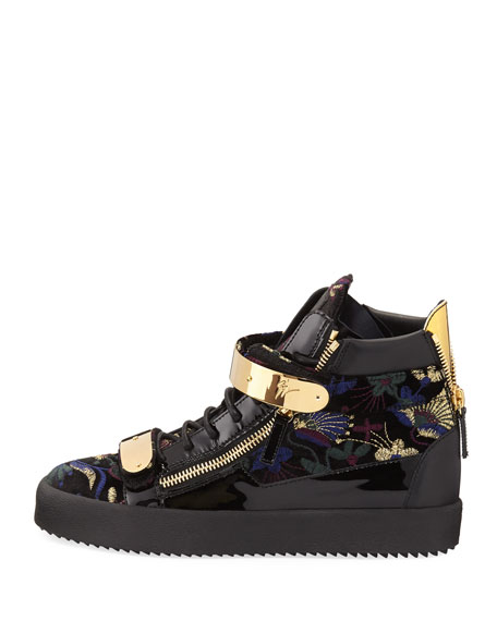 Men's Floral Brocade Velvet Double-Bar High-Top Sneaker