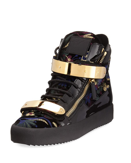 Giuseppe Zanotti Men's Floral Brocade Velvet Double-Bar High-Top