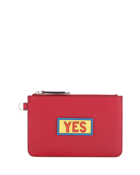 Fendi Yes Vocabulary Leather Coin Pouch