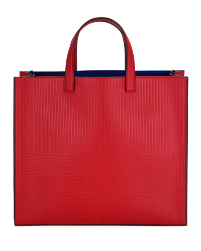 Optic Stripe Leather Tote Bag