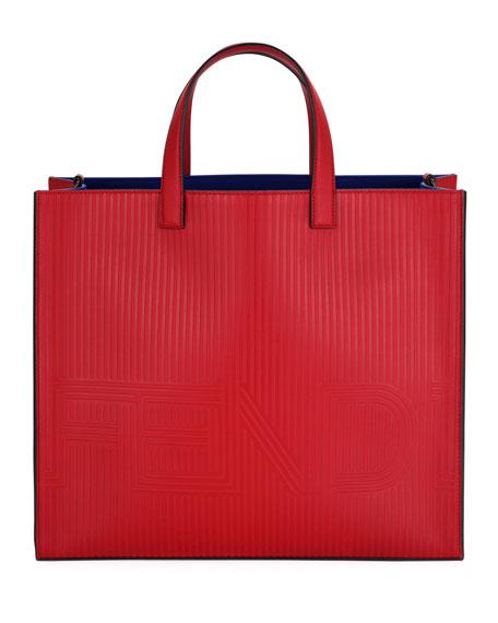 Fendi Optic Stripe Leather Tote Bag