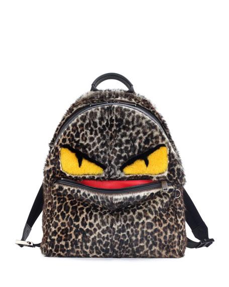Jaguar-Print Fur Monster Backpack