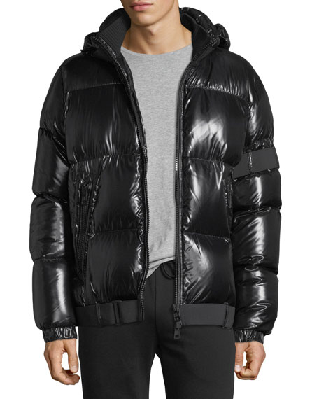 shiny black puffer jacket moncler