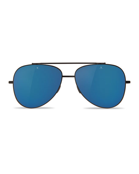 Swing Titanium Pilot Polarized Sunglasses, Black/Blue