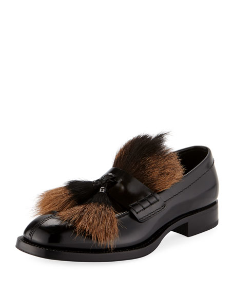 7ac6ec4b58b9 Prada Spazzolato Goat-Fur Tassel Loafer
