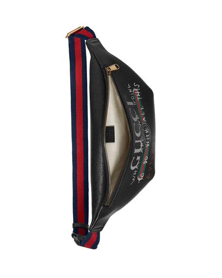 Gucci-Print Leather Belt Bag, Black