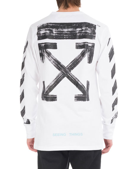 Brushed Diagonal Arrows Long-Sleeve Cotton T-Shirt