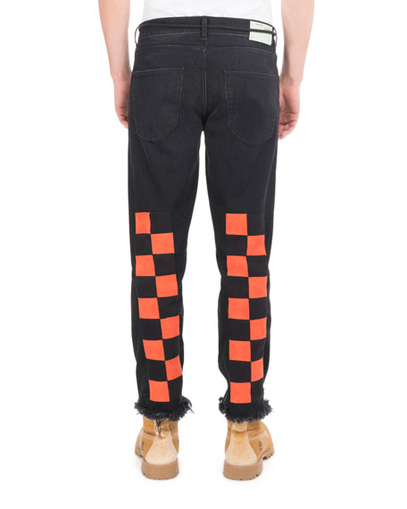 Checker Denim Cropped Straight-Leg Jeans